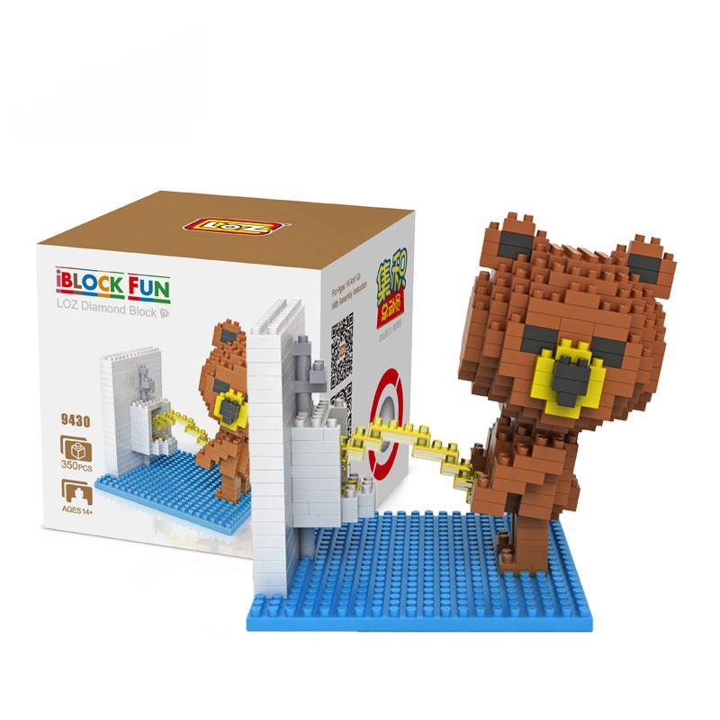 Diamond Blocks Brown Bears Bathroom Bathtub Gift Series Micro Block Cartoon Toys Creative Bricks Building Blocks MOC 9427