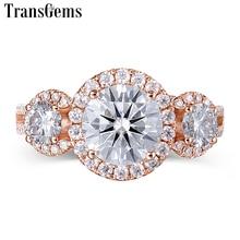 Transgems Halo Three Stone Moissanite Engagement Ring 18K Rose Gold 3 Type for Women Fine Jewelry Wedding Gift