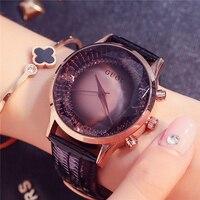 GUOU Large Dial Women Watches 2018 Luxury Brand Waterproof Rhinestone Ladies Dress Wristwatch Simple relojes mujer Black Clock