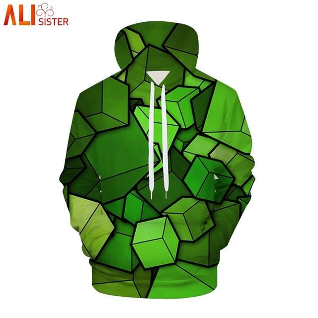 Alisister 3d блоки плюс Размеры толстовки Для мужчин Для женщин Harajuku с капюшоном 2018 осень-зима спортивный костюм пуловер челнока