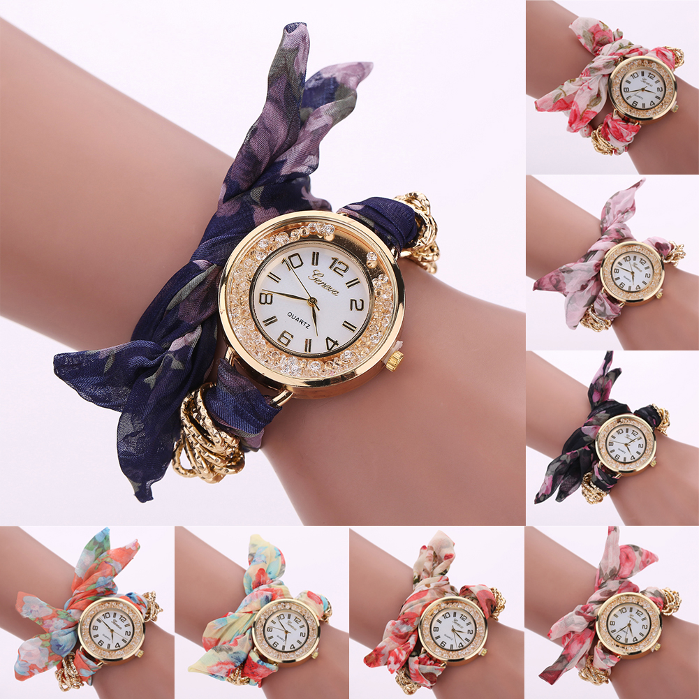 New Style Women s Top Cloth Belt Band Analog Quartz Wristwatch 8 Colors for Choice 3
