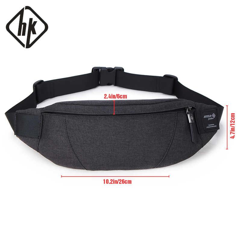 0682ef0cd0af ... Hk поясная Сумка черный водостойкие поясная барсетка для мужчин кошелек  подростка путешествия ремень мужской поясные сумки