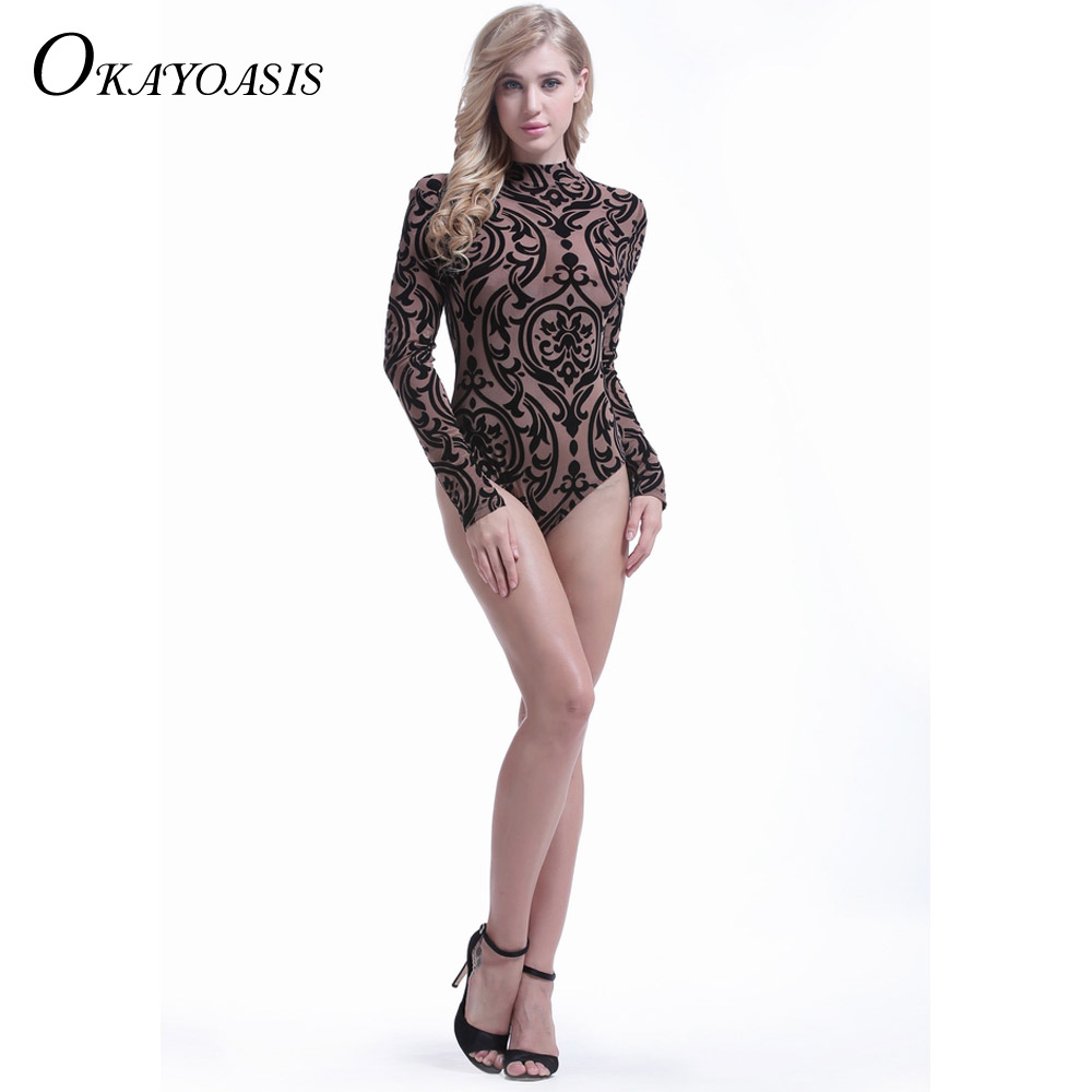 OKAYOASIS 2017 Autumn Sexy Elegant Women Tattoo Printed Jumpsuits ... 99d483a161a3