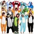 Теплый 2015 зима женщин пижамы высокое качество фланель Onesie ночной рубашке звериного стиля Onesie пижамы панда жираф / единорог / тигр