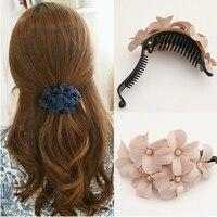 NEW 2014 Elegant Wedding Prom Silk Flower Pearl Headpiece Bridal Hair Clip Hair Accessory Free Shipping
