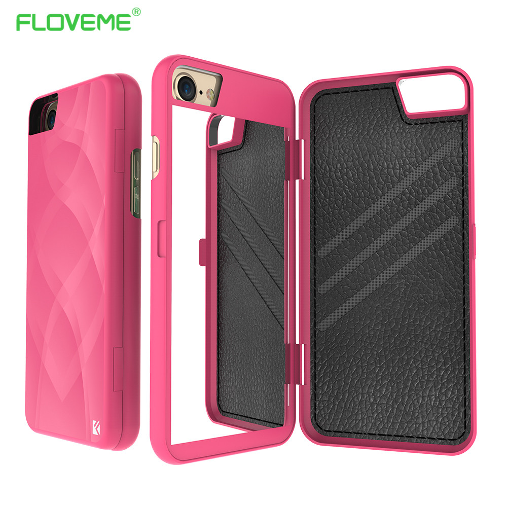 Floveme Case For Iphone 6 6s 7 Plus Mirror Cover Card Holder Case