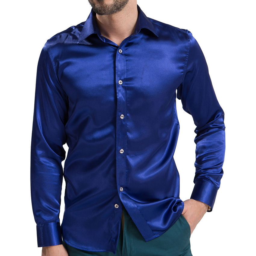 2016 Satin Smooth Material Men Solid Tuxedo Shirt BusinessFashion Polyester Silk Shirt Men Casual Slim Chemise