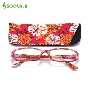 Image 3 - SOOLALA 4pcs Womens Reading Glasses Spring Hinge Rectangular Printed Reading Glasses w/ Matching Pouch +1.0 1.5 1.75 2.25 to 4.0