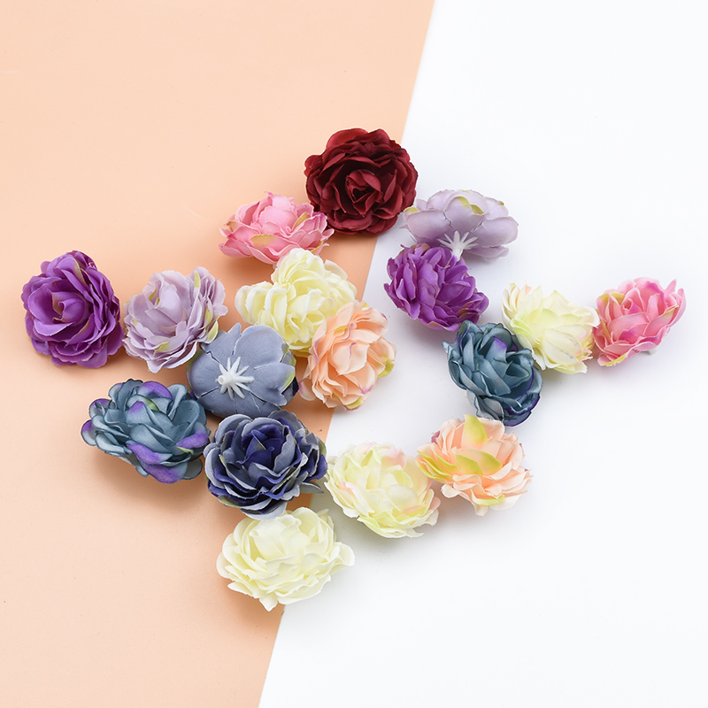 10pcs Artificial Flowers Christmas Decorations For Home Wedding Car Diy Gifts Box Silk Peony Brooch Bridal Accessories Clearance