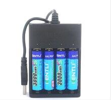 Baterias de 4 Lítio plus Carregador 1.5 V Lifepo4 14500 Pcs AA Kentli Lipo Pilas Ph5 3000mwh Recarregável Li-ion Bateria de
