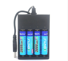 1.5 v 14500 AA baterías lifepo4 4 unids KENTLI pilas lipo PH5 3000mWh li-ion batería de Litio Recargable + AA Batería cargador