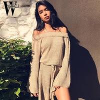 WYHHCJ 2017 Elegant Ruffles Women Dresses Sashes Sexy Off Shoulder Autumn Winter Dress Long Sleeve Warm