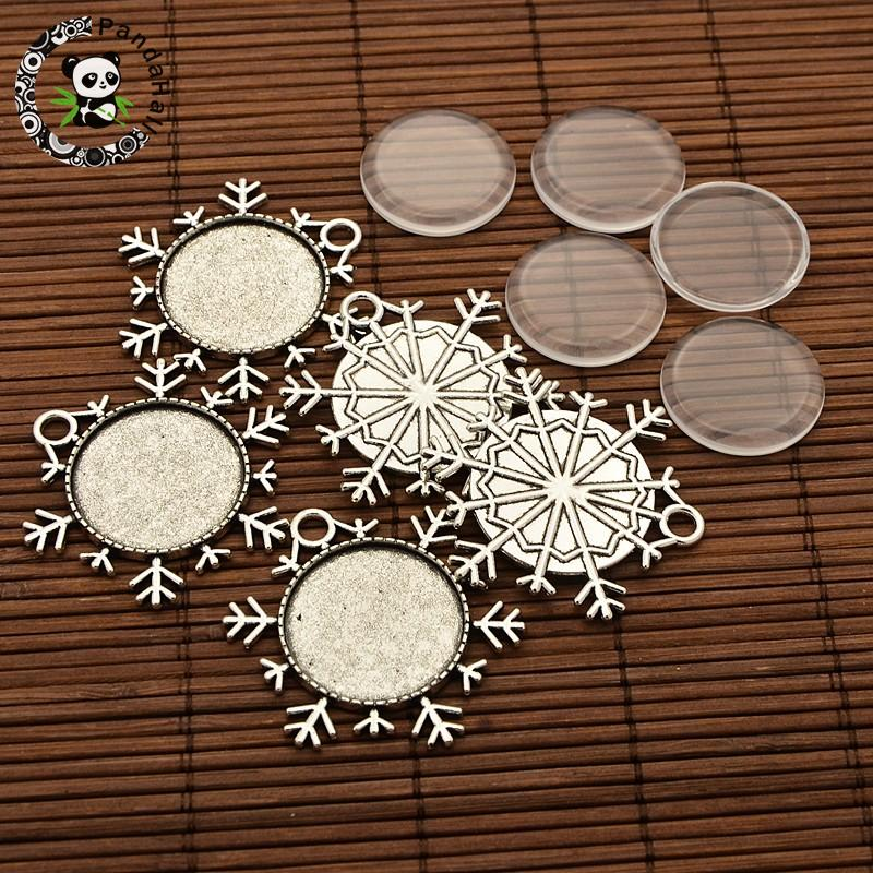 PandaHall Elite 10 Sets Antique Silver 25mm Dome Transparent Glass Cabochons And Alloy Pendant Cabochon Settings for DIY Pendant Making