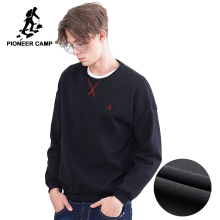 Pioneer camp new winter thick fleece hoodies men clothing warm slim fit sweatshirt