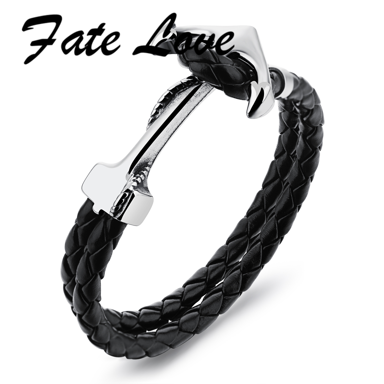 Fate Love Fashion Braided Rope Black Genuine Cowhide Bracelets Stainless Steel Anchor Leather Bangles Cool Wrap Bracelet FL1096 4 pcs cowhide rope hand bracelet