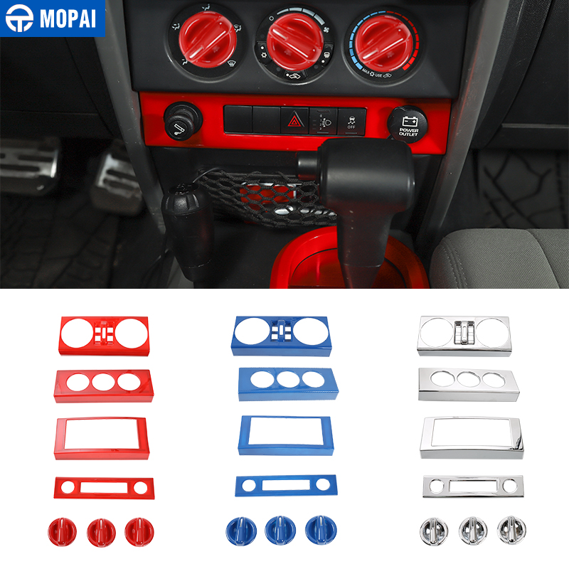 MOPAI Car Styling Interior Central Navigation Air Condition Decoration Cover Trim Accessories for Jeep Wrangler JK 2007-2010 4pcs set 4door car chrome abs door storage cover trim frame decoration fits for jeep wrangler jk 2007 2016 car styling covers