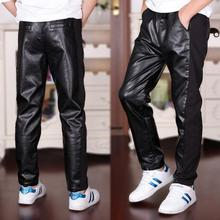 9464fcde9 Boys Faux Leather Fashion Pant Teenager 2019 New Spring Autumn Clothing  Black Casual Pu Pants Big