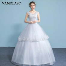 VAMOLASC Illusion Crystal V Neck Tiered Lace Appliques Ball Gown Wedding Dresses Sequined Tank Backless Bridal Gowns
