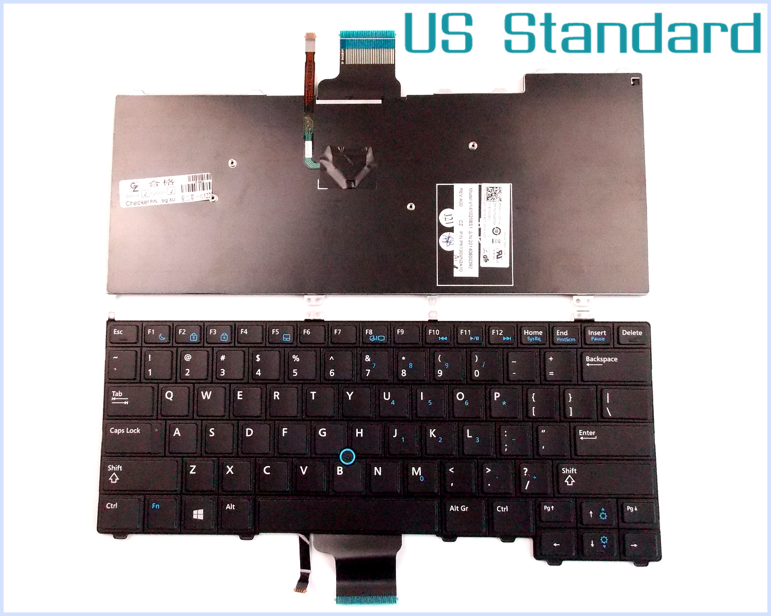 US English Version Keyboard for Dell Latitude 12 7000 E7440 E7240 RXKD2 8PP00 Laptop Non-Backlit Track Point 11 1v 31wh genius original laptop battey for dell latitude 12 7000 e7240 latitude e7240 latitude e7250 latitude e7440