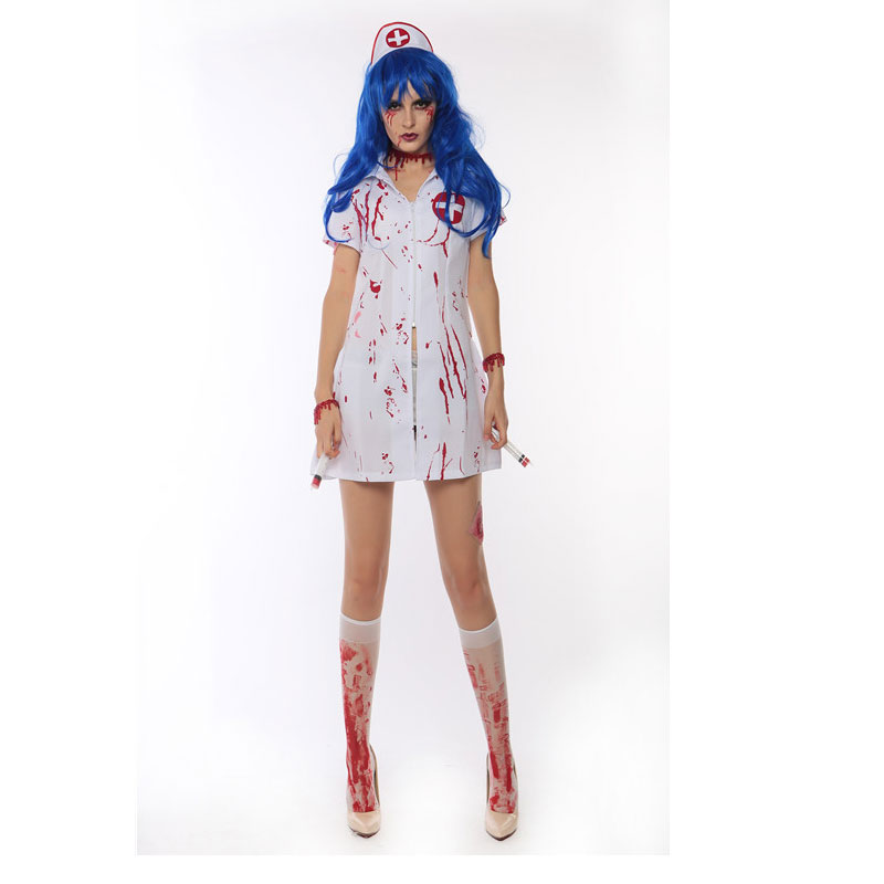 bloody costume Dress devil Party girls Halloween Party Cosplay Horror Bloody Scary Nurse Costume w1873