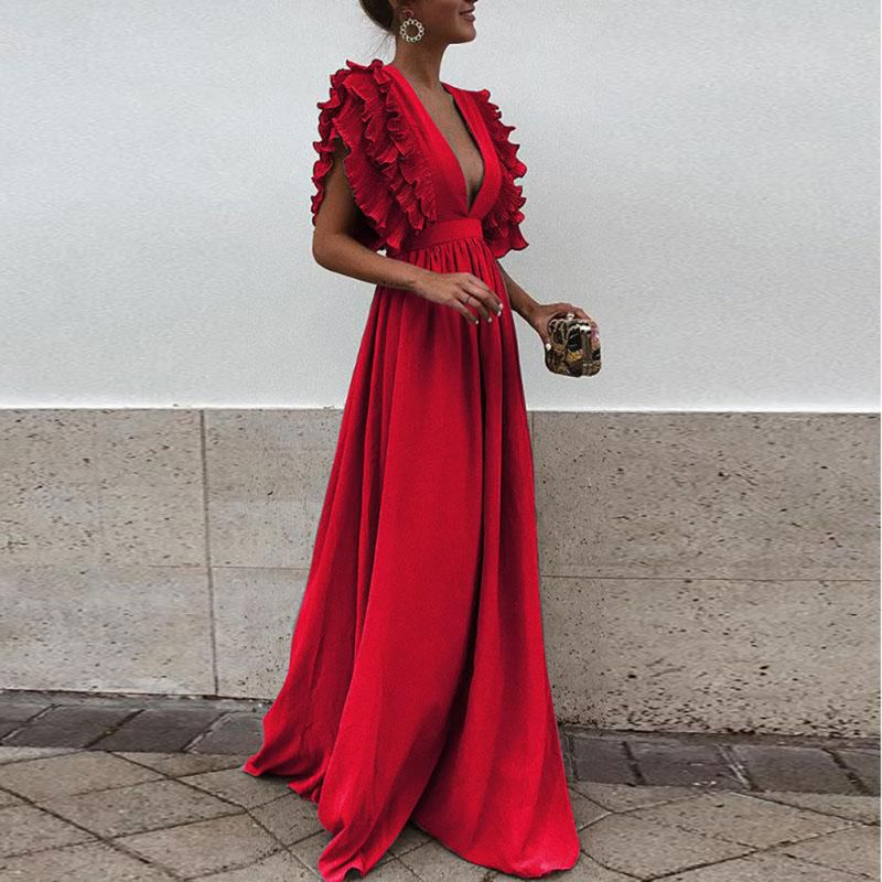 Women Maxi Long Dress Ruffles Flying Sleeve Solid Sexy Deep V Neck High Waist Dresses Girl