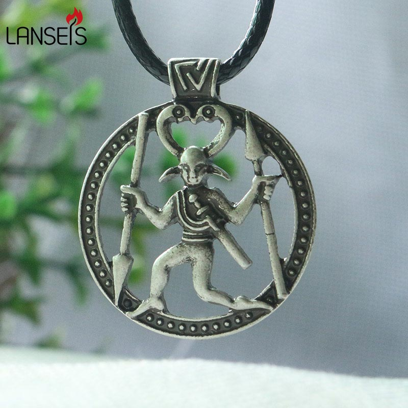 lanseis 1pcs Odin pendant Viking men necklace Warrior in a horned headdress with raven head