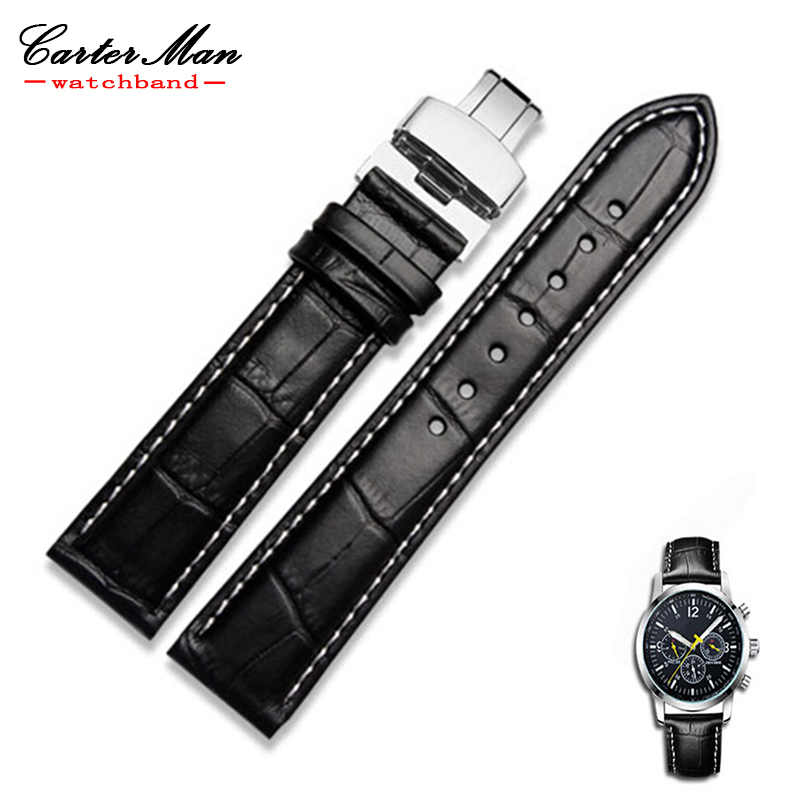 Genuine LeatherButter with Deployment Clasps Watchband 16mm 18mm 19mm 20mm 21mm 22mm 23mm 24mm Watch Strap Bracelets Promotion 14mm 16mm 17mm 18mm 19mm 20mm 21mm 22mm 23mm 24mm silver black full stainless steel watch strap wacthband for rarone with logo