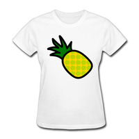 Woman Pineapple Icon Cute Cartoon Logo Funny Short Sleeve Tshirts Awesome White
