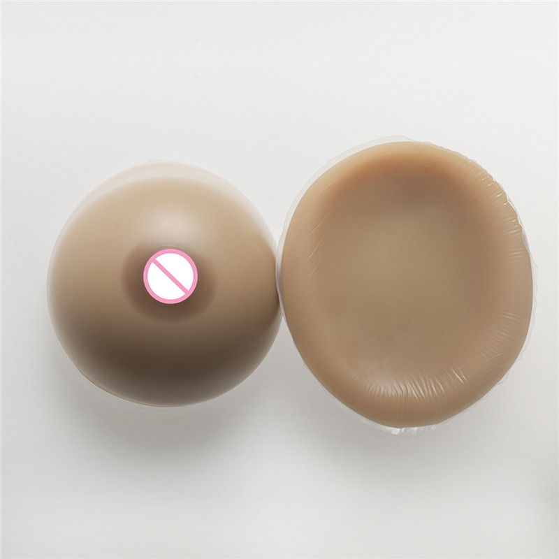 Buy 2800g/pair Classic Round Brown Silicone Boobs Breast Forms Fake Breast Enhancer Drag Queen Shemale Transgender