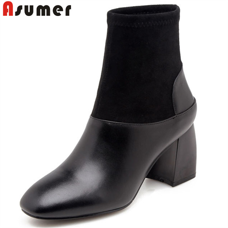 ASUMER black fashion 2018 new women boots square toe ladies ankle boots mixed colors genuine leather boots high heels shoes стоимость