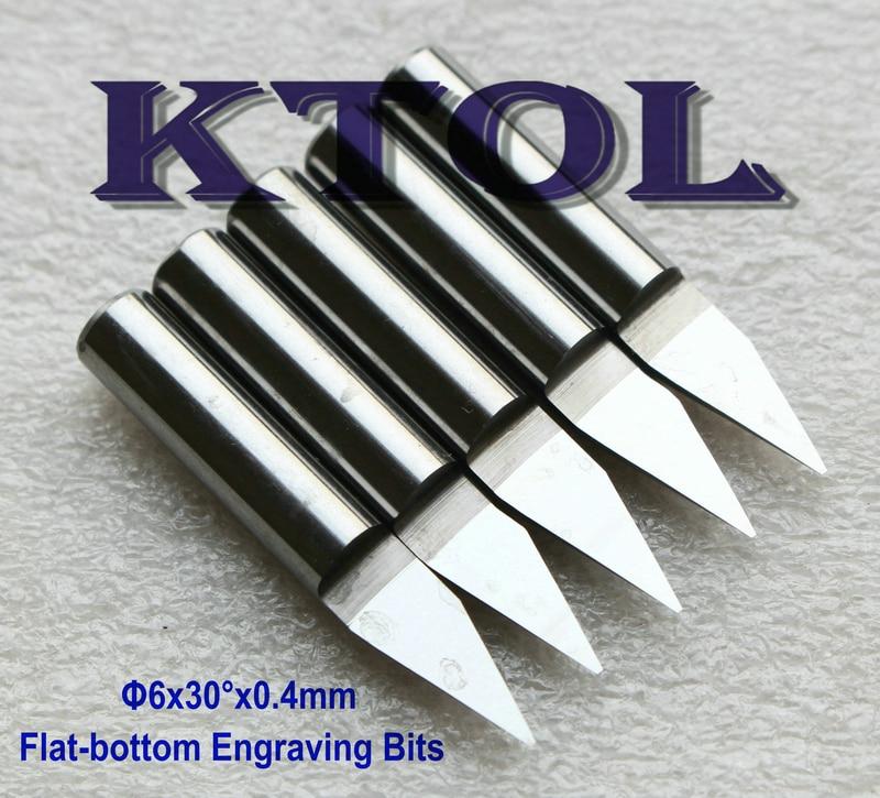 10pcs 6MM Shank 60 Angle 0.4MM Flat Bottom Engraving Bits CNC router bits