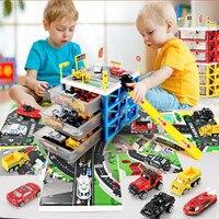 Newest Kids Car Toys Mini Parking Lot 6 Pcs Cars Storage Box DIY Road Signs Car Slot Model Toys For Christmas Gift