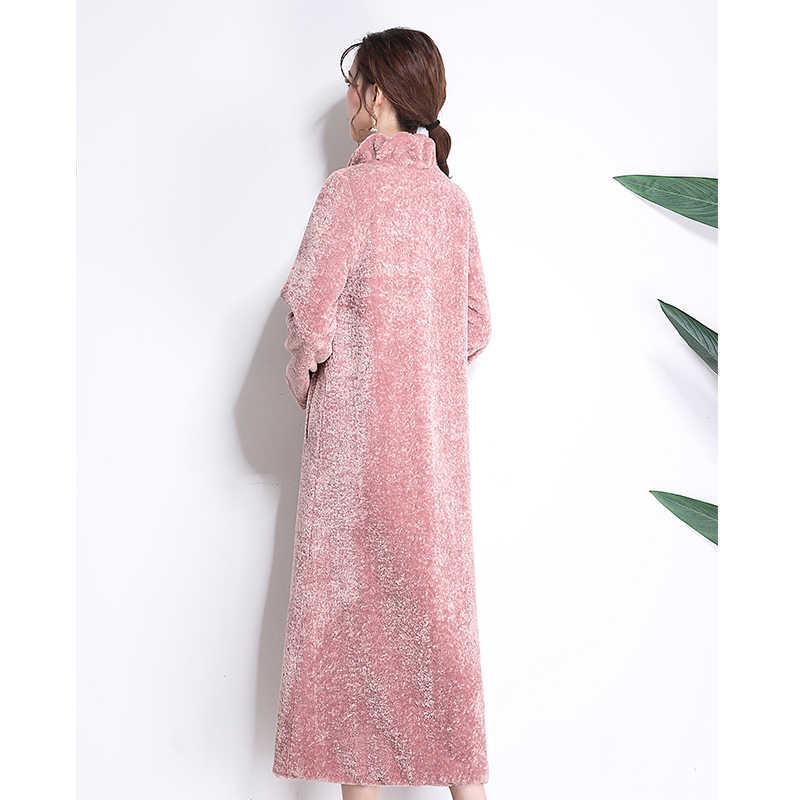 Nerazzurri искусственный мех пальто зима для женщин 2019, новая мода повседневное теплые удлиненные ягненка Мех животных плюс размеры 5xl 6xl 7xl