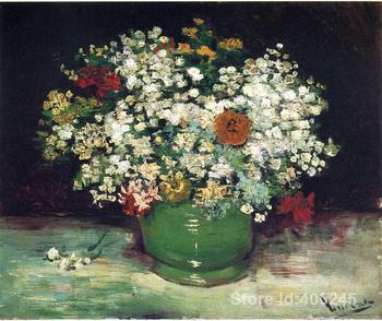 Modern art Vase with Zinnias and Other Flowers by Vincent Van Gogh reproduction paintings Hand painted High quality