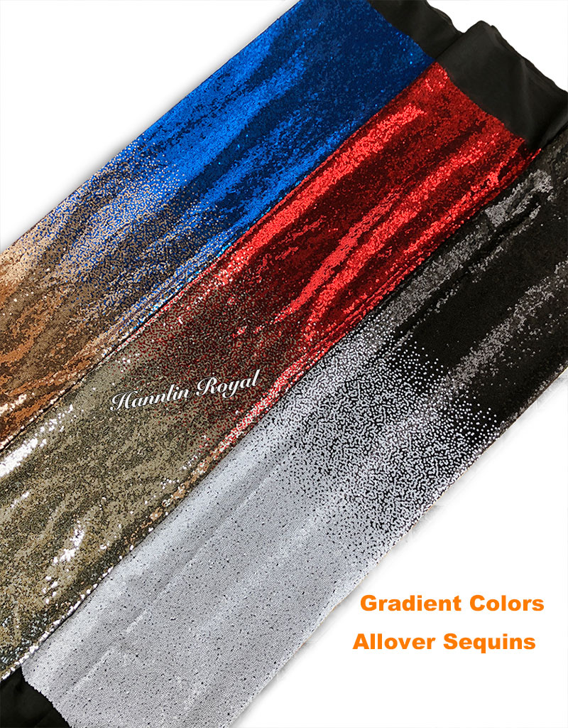 Allover sequins gradient colors tulle lace fabric African french lace Nigerian garment clothes high quality 5