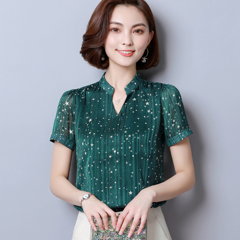 83fe84db555 Fashion woman blouses 2019 Short Sleeve summer tops print striped Chiffon  Blouse shirt plus size womens tops and blouses 2065 50-in Blouses   Shirts  from ...