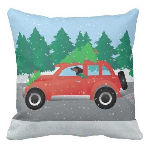 Boston Christmas Tree Delivery: Throw Pillow Case Cover Dachshund Dog Driving Hot