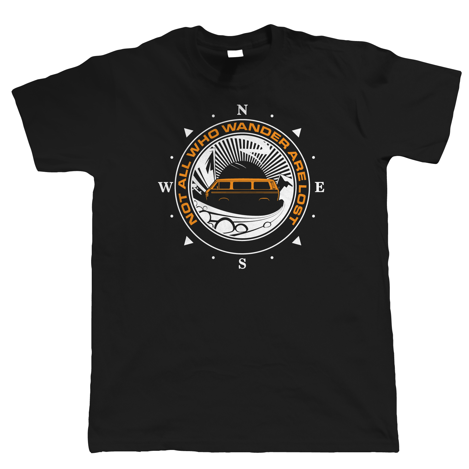 Not All Who Wander Are Lost Campervan T Shirt, T25 Campinger Gift for Him Dad Summer Man T-Shirt Tops Tees New