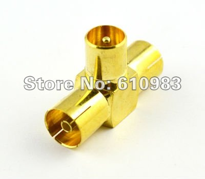 (<font><b>5</b></font> pieces/lot) IEC PAL DVB-T TV male to 2 female <font><b>jack</b></font> splitter <font><b>3</b></font> way goldplated adapter connector image