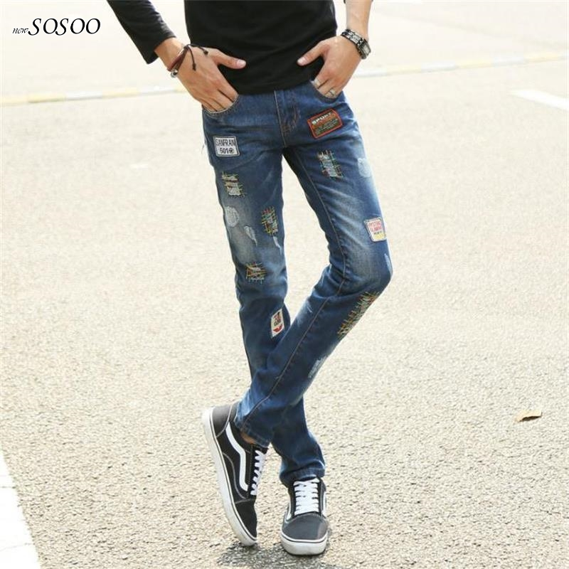 2018 NEW man jeans classic blue letter printing slim fit hole straight Male Casual jeans fashion jenas men #E20