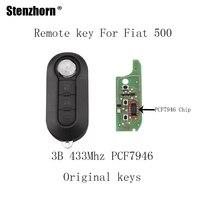 Stenzhorn 3pcs 3BT433Mhz Car Remote Key DIY For Fiat 500L Bravo Ducato 500L 2010 2011 2012