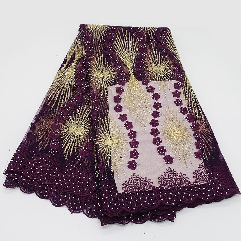 Violet français perle dentelle tissu africain dentelle tissu 2019 nigérian Tulle broderie ceinture diamant dentelle robe de mariée