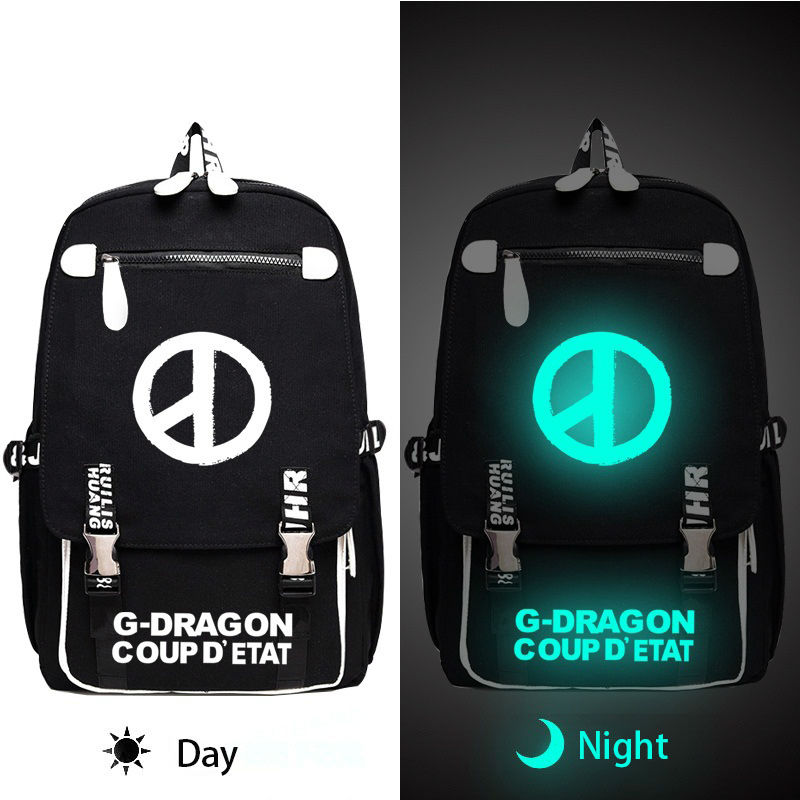 Kpop BIGBANG G-DRAGON Backpack Cool Luminous School Bag for Teens Women Men Korean Style Travel Bag Laptop Backpack Fans GiftKpop BIGBANG G-DRAGON Backpack Cool Luminous School Bag for Teens Women Men Korean Style Travel Bag Laptop Backpack Fans Gift