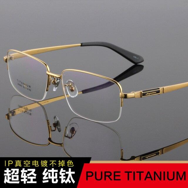 Новый Men Pure Titanium Зрелище полукадра Простой Бизнес Супер Свет большой Лица Комфортно Близорукость очки для чтения TG9989