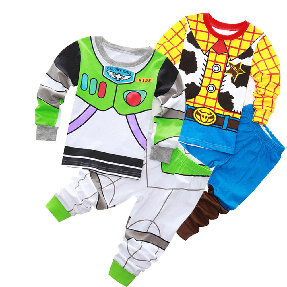 2sets/lot Toddler Boy Clothes   Set   Buzz Lightyear Kids   Pajamas     Set   Cartoon Woody Pijama Infantil Super Mario Bro Pijama 2pcs Suit