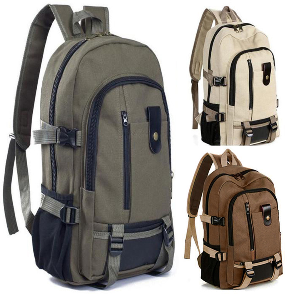 High Capacity Vintage Travel Canvas Leather Backpack Sport Rucksack Satchel School Hiking Unisex Bag