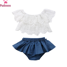 Summer Newborn Clothes Set Toddler Baby Girl Lace White Crop Tops and Denim Blue Shorts Infant Girls Outfits Clothing бейсболка женская animal infant girls white blue page 2