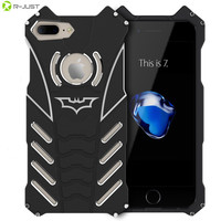 R-JUST BATMAN Series Luxury Doom Heavy Duty Armor Metal Aluminum Mobile Phone Cases For apple iPhone 7 5 5S SE 5C 6 6S PLUS Bags