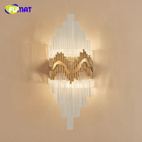 FUMAT American Creative Bedside Wall Lamps Background Artistic Crystal Brush Fashion LED Crystal Wall Lights For Living Room