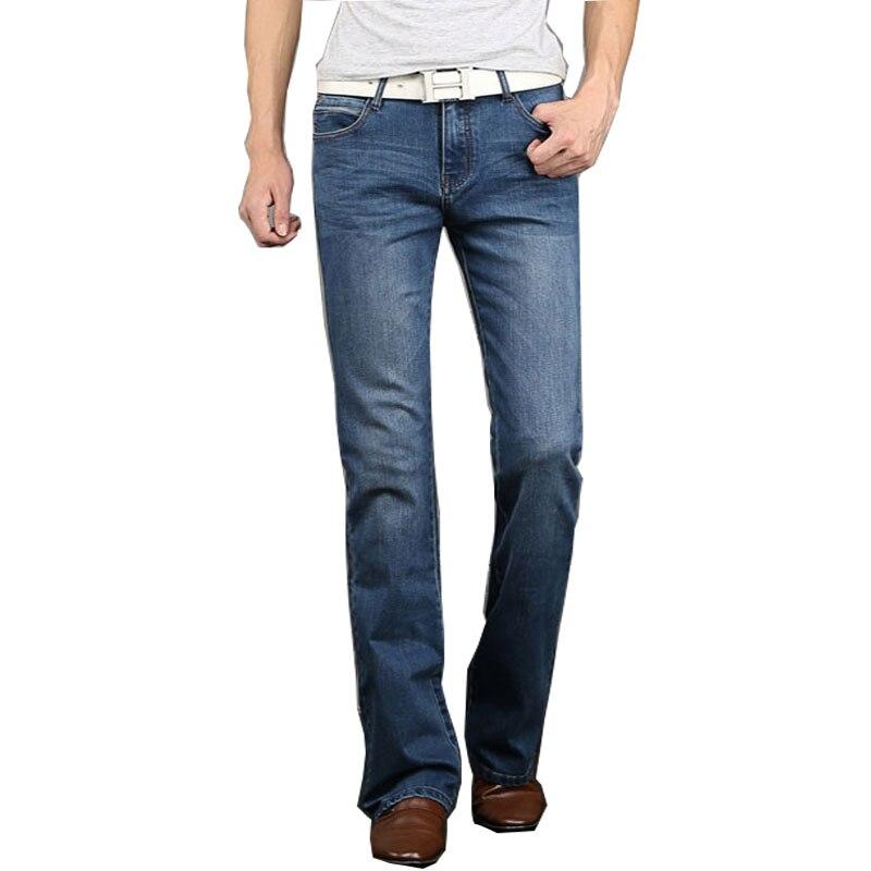Fashion Mens Bell Bottom Jeans Business Blue Mid Waist Slim Fit Boot Cut Semi-flared Flare Leg Denim Pants Plus Size 27-38